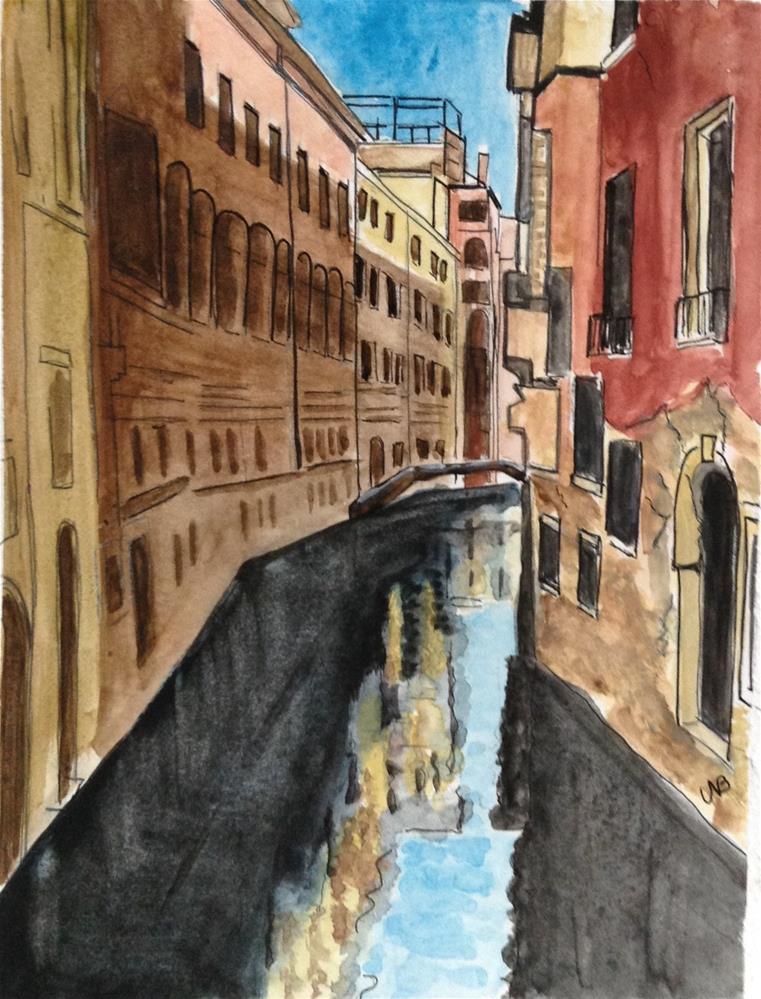 """""""Venice  Canal 8 x 10 w/ mat  SOLD"""" original fine art by Nancy Beard"""