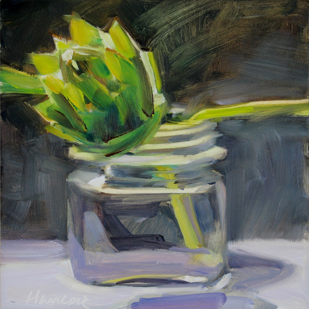 """Artichoke and Square Glass Jar on Black"" original fine art by Gretchen Hancock"
