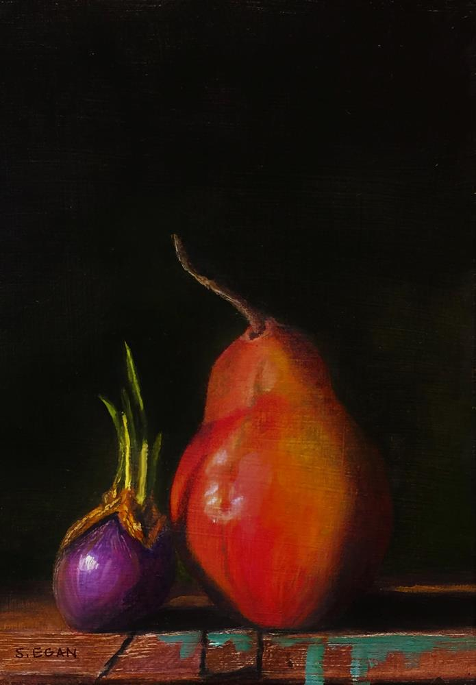 """Shallot and Red Anjou Pear"" original fine art by Sharon Egan"