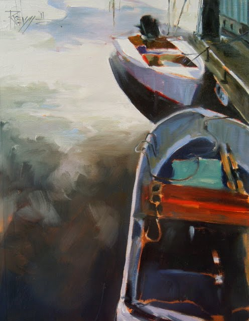 """Marina Boats  oil marine landscape"" original fine art by Robin Weiss"