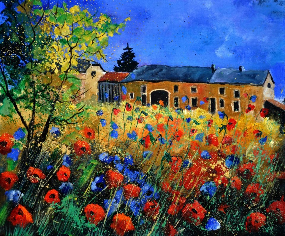 """field flowers in houroy"" original fine art by Pol Ledent"