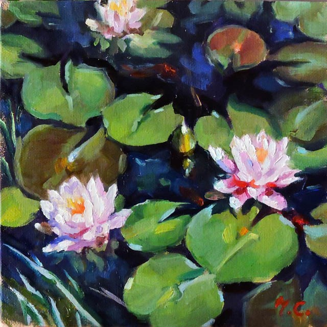 """Summer Lotus Pond"" original fine art by Michelle chen"