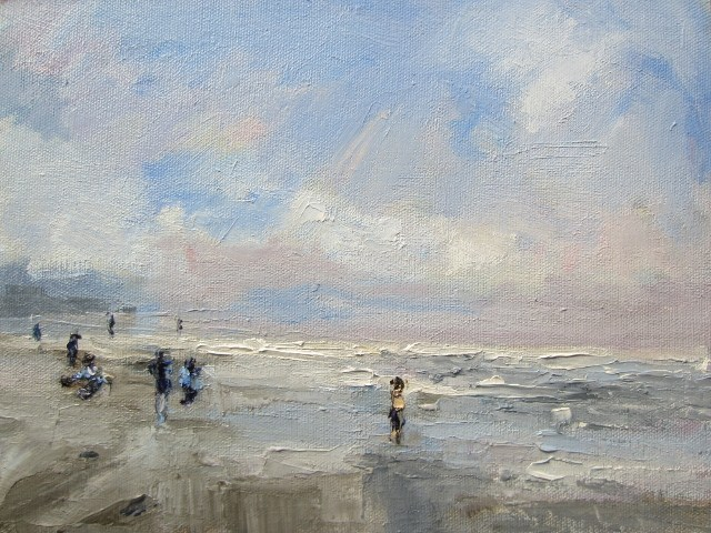 """Seascape study Winter kids playing  Autumn Breeze"" original fine art by Astrid Buchhammer"