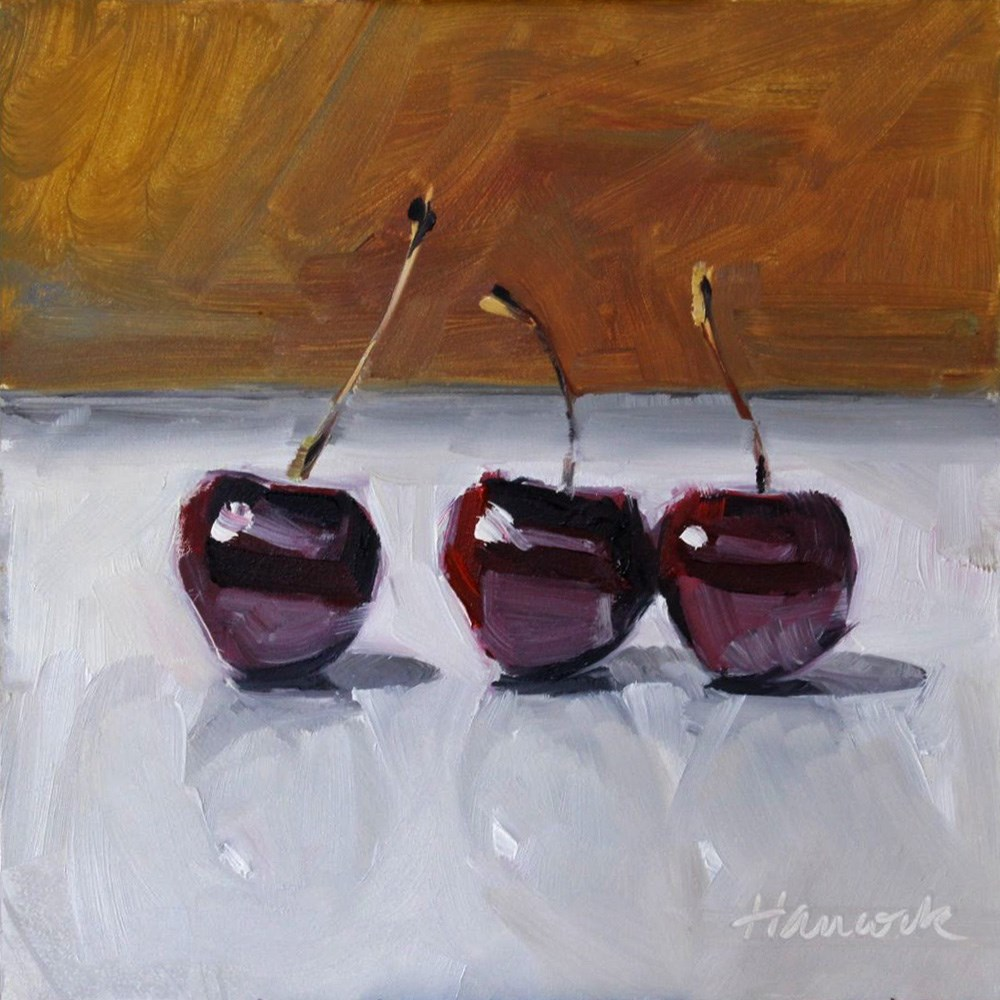 """Sweet Cherries Gold Background"" original fine art by Gretchen Hancock"