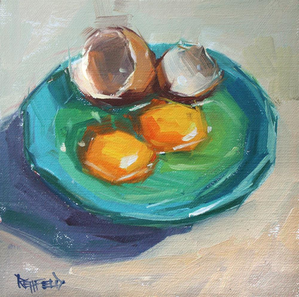 """Scrambled or Poached?"" original fine art by Cathleen Rehfeld"