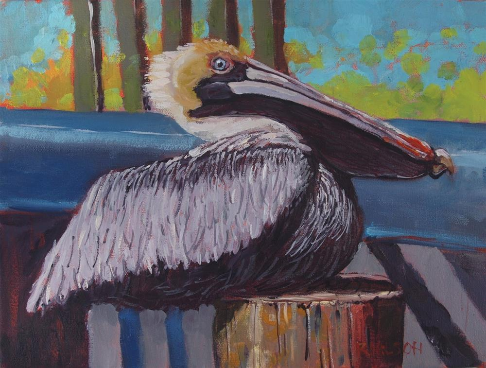 """Port Comfort Pelican"" original fine art by Rick Nilson"