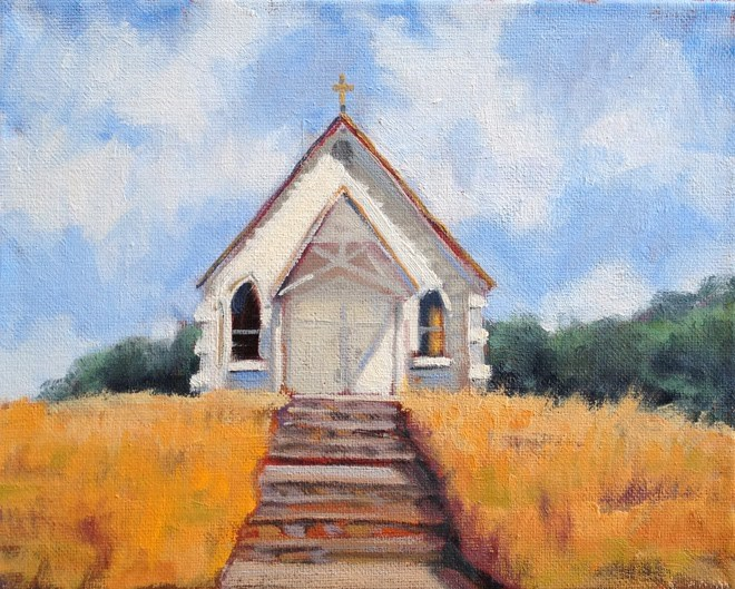 """Little Church on the Hill"" original fine art by Deborah Newman"