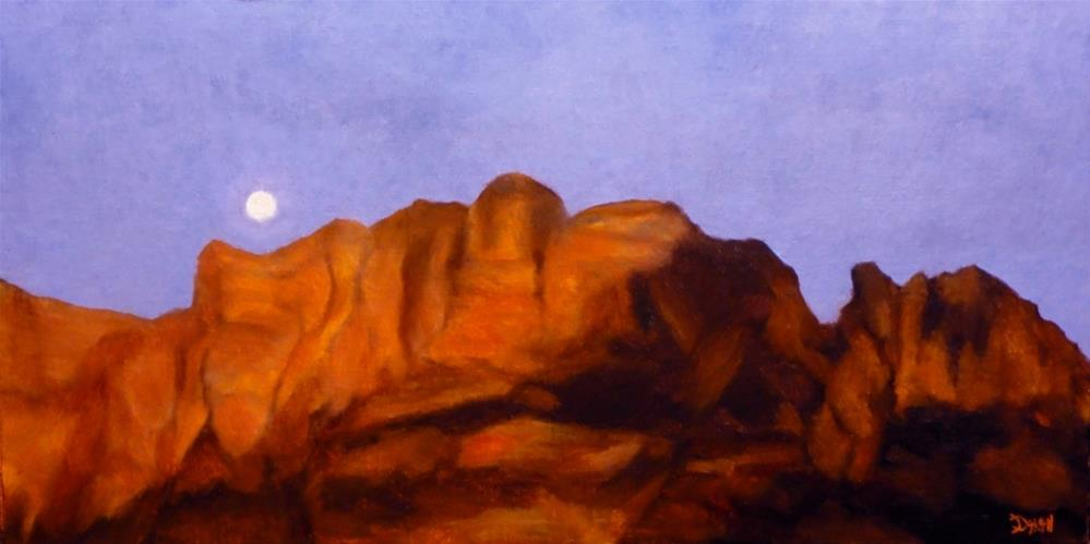 """Moonrise Over Zion"" original fine art by Dalan Wells"
