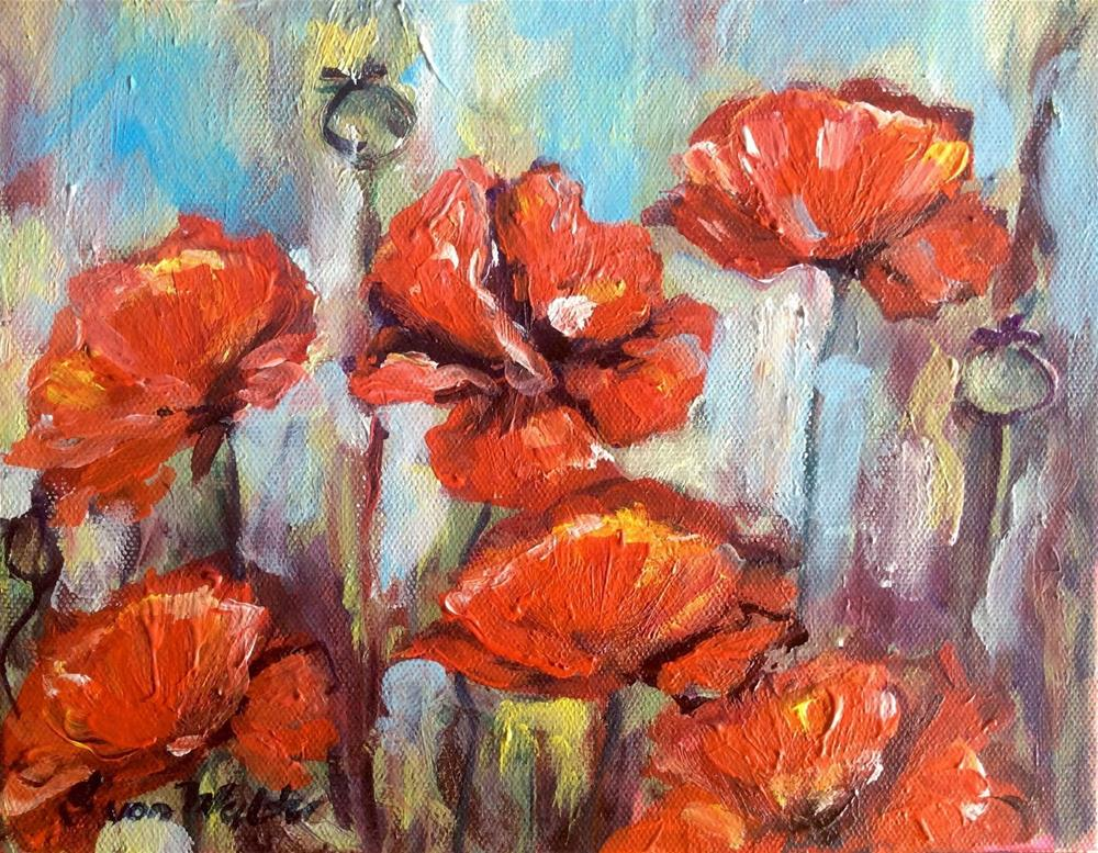 """Red poppies"" original fine art by Sonia von Walter"