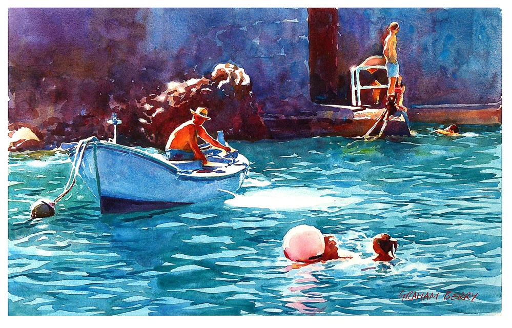 """Harbor swimmers."" original fine art by Graham Berry"