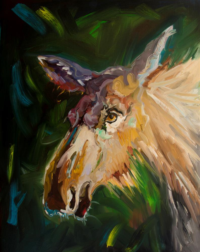 """Moose in Shadows"" original fine art by Diane Whitehead"