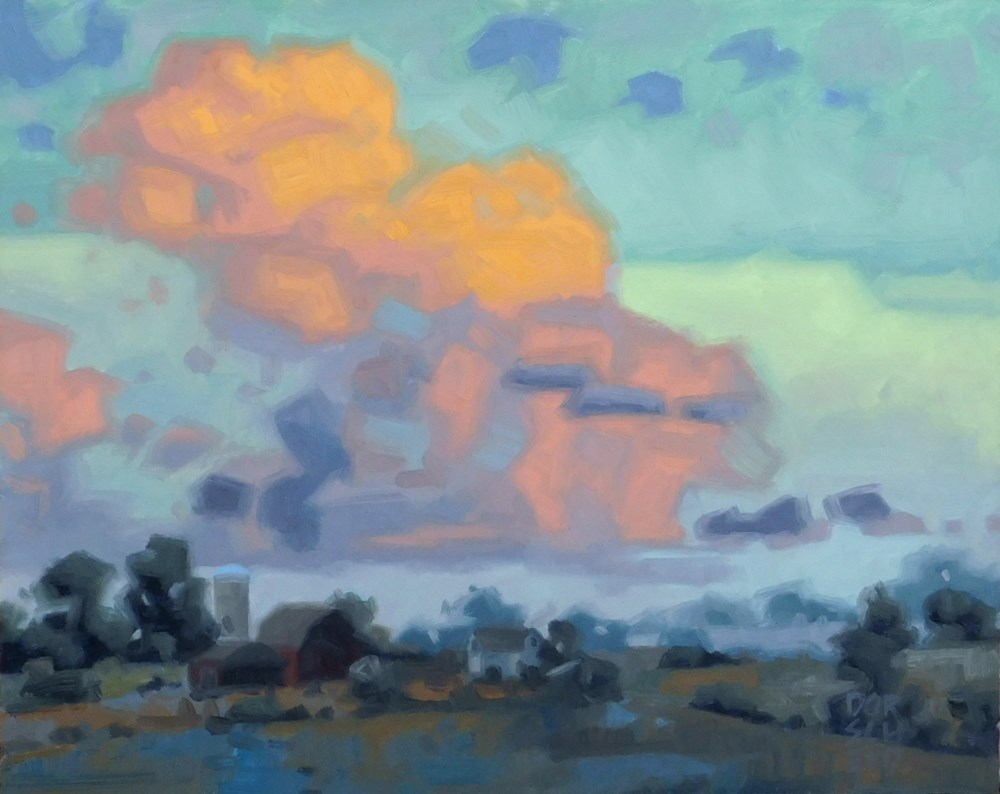 """Billowing Clouds at Dusk"" original fine art by Les Dorscheid"