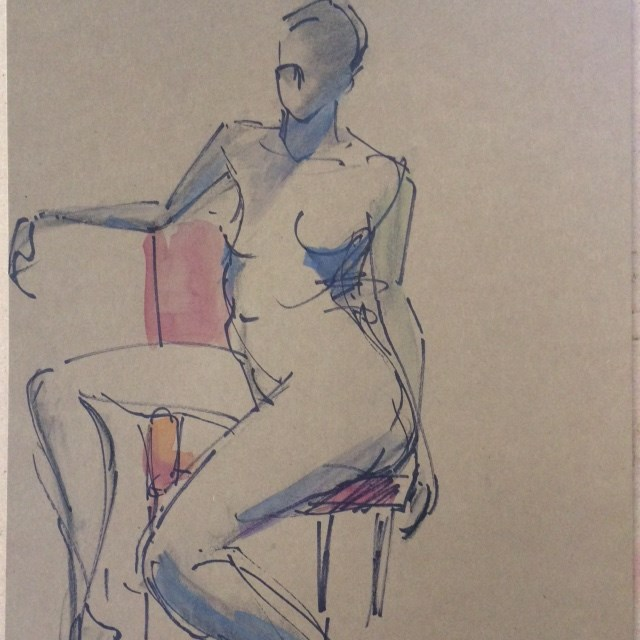 """Girl on a Red Chair"" original fine art by Naomi Bautista"