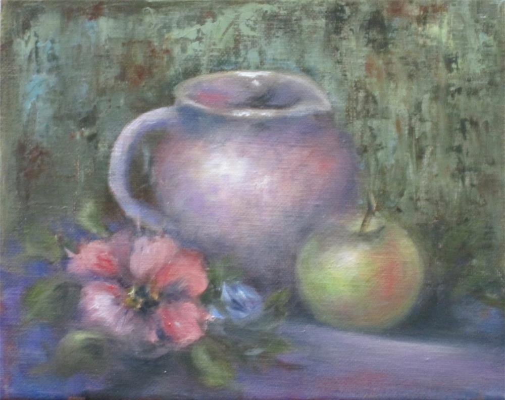 """Pink Pitcher and Green Apple"" original fine art by Barbara Wagner"