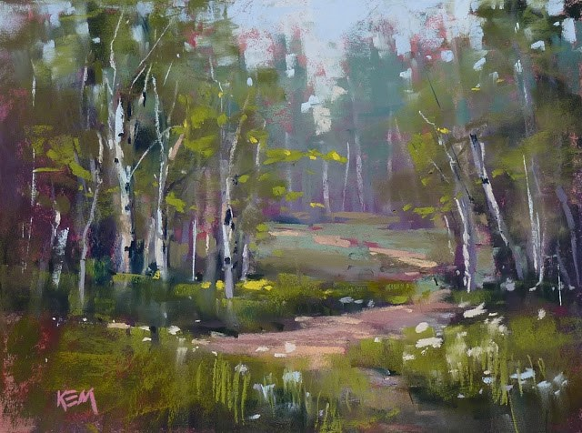 """See a Live Video Demo of this Forest Pastel Painting!"" original fine art by Karen Margulis"