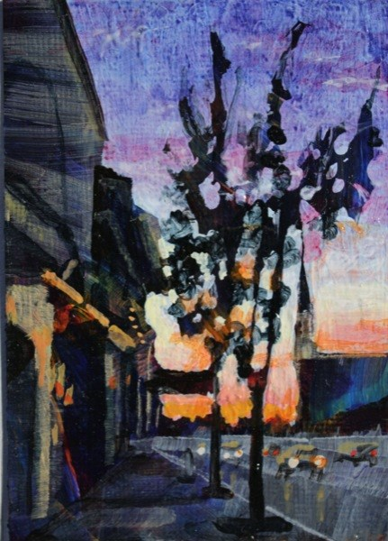 """Main Street Williamsville at dusk."" original fine art by Chris  Breier"
