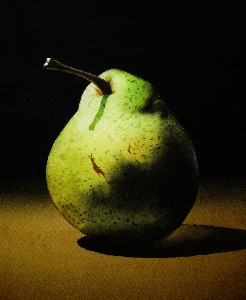 """""""Pear 2"""" original fine art by Jacqueline Gnott, whs"""
