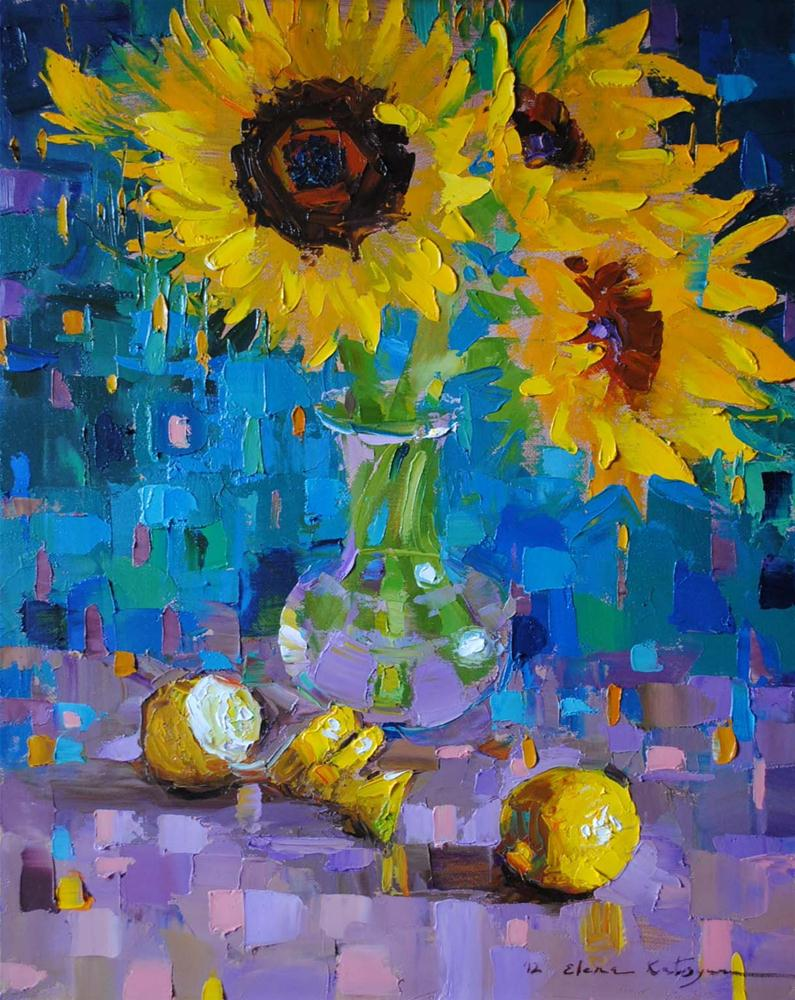 """Sunflowers and Lemons"" original fine art by Elena Katsyura"