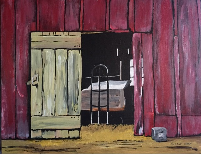 """The Red Barn"" original fine art by Helen Kuhn"