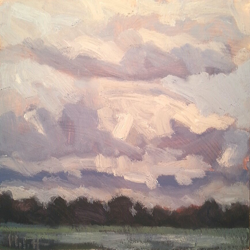 """Plein Air Dramatic Skies Contemporary Impressionism Daily Oil Painting"" original fine art by Heidi Malott"