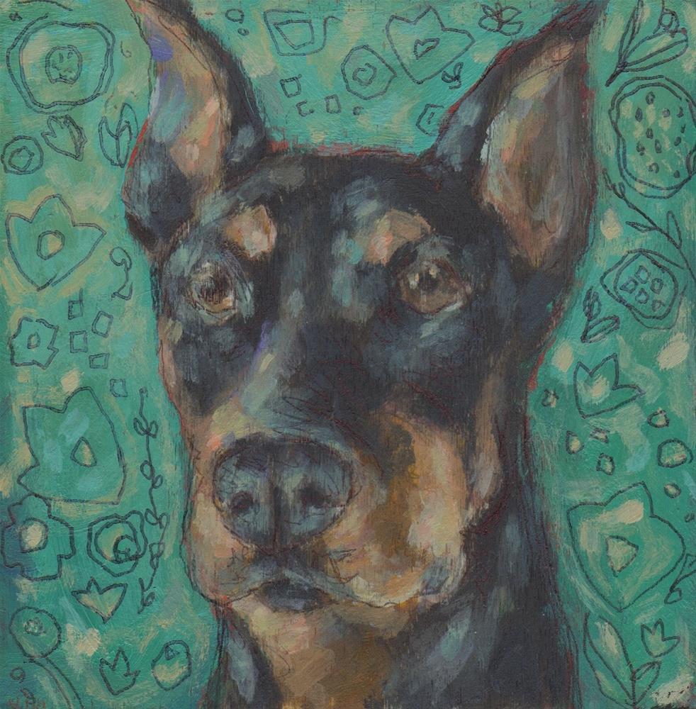 """""""German Pinscher"""" original fine art by Kathy Hiserman"""