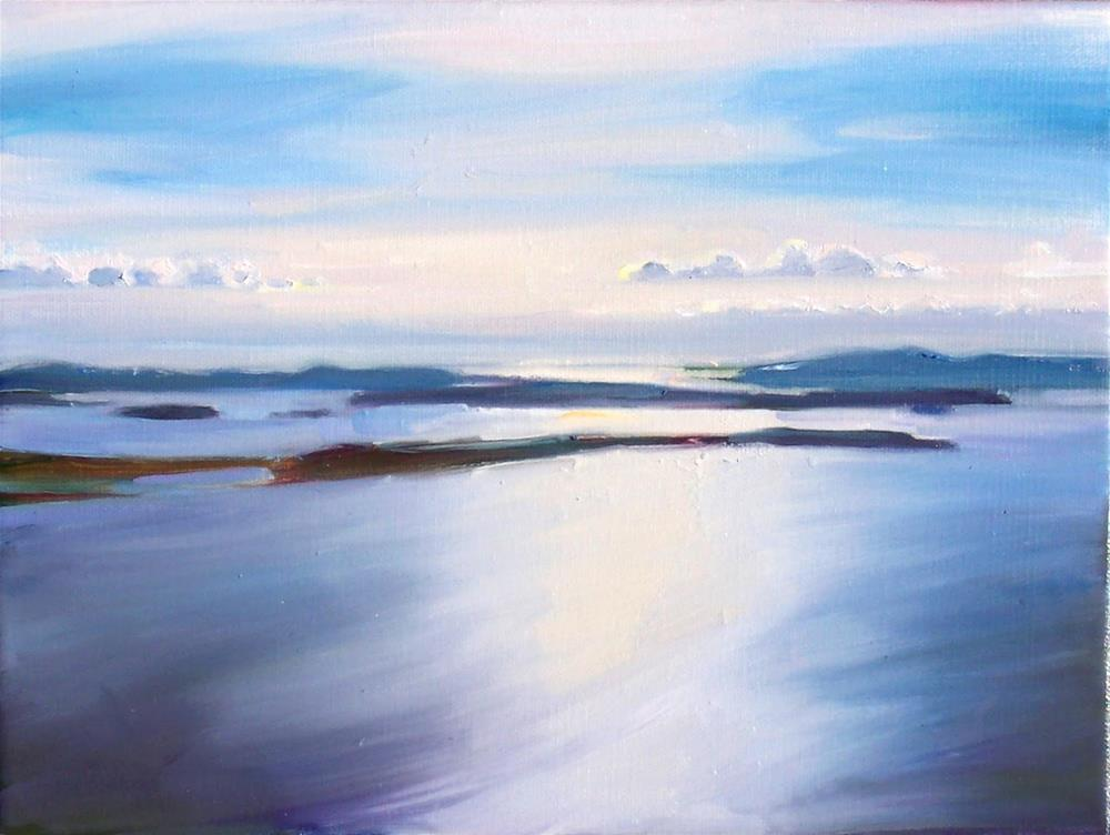 """Late Afternoon View from Blanchard Mountain,seascape,oil on canvas,9x12,price$500"" original fine art by Joy Olney"