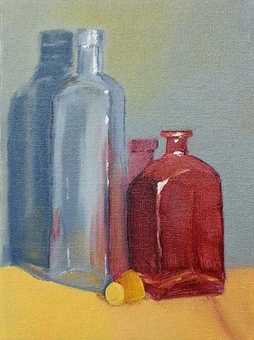 """Bottles One"" original fine art by Kari Melen"
