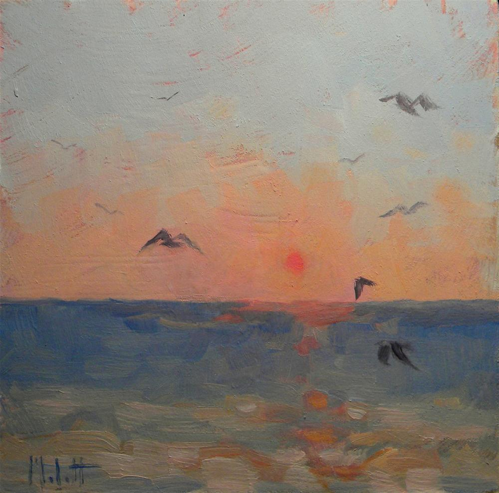 """Seagulls at Sunset Impressionist Oil Painting Seascape Art"" original fine art by Heidi Malott"