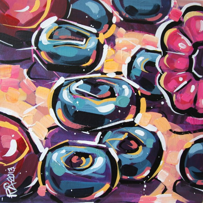 """Blueberry Abstraction 15"" original fine art by Roger Akesson"