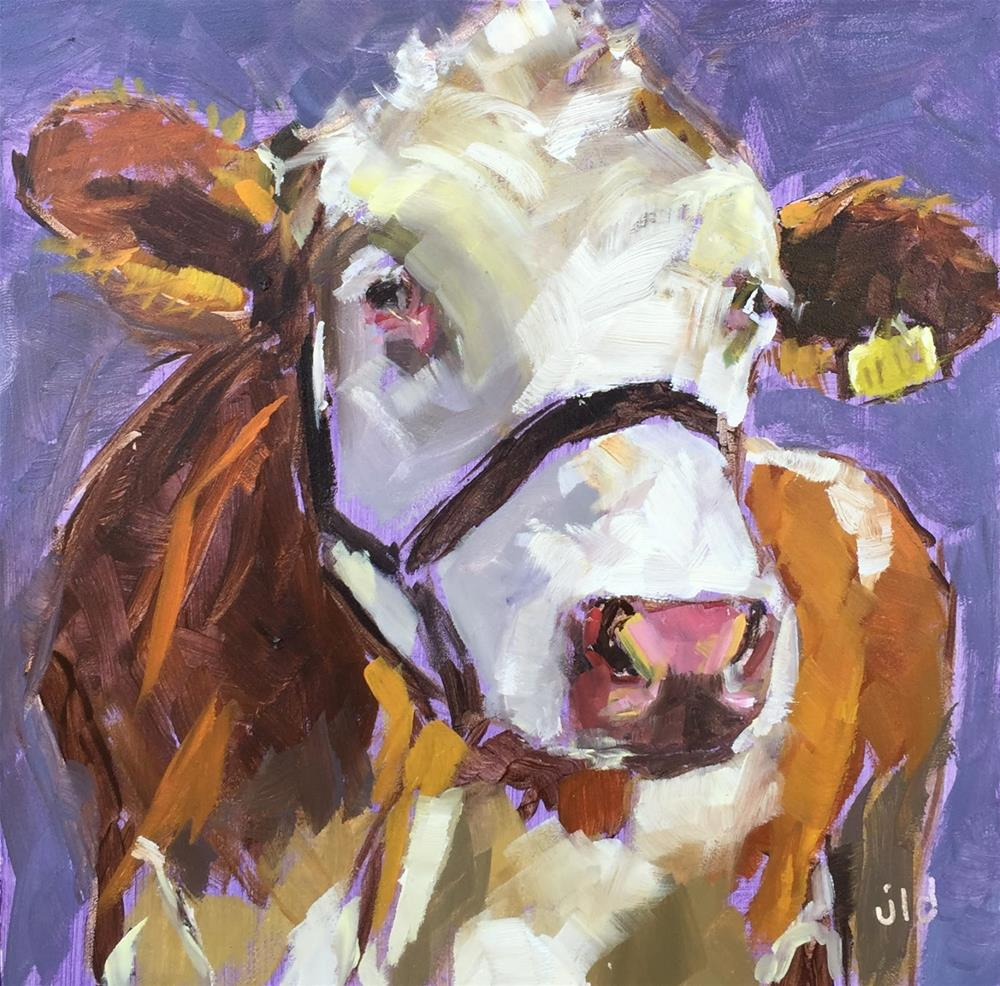 """Cow 69 IMPRESSIVE"" original fine art by Jean Delaney"