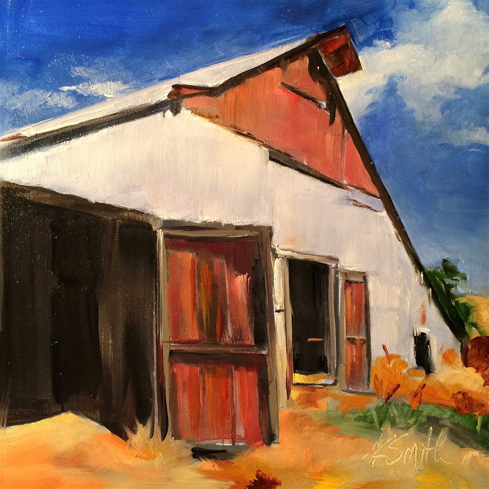 """the old barn challenge"" original fine art by Kim Smith"