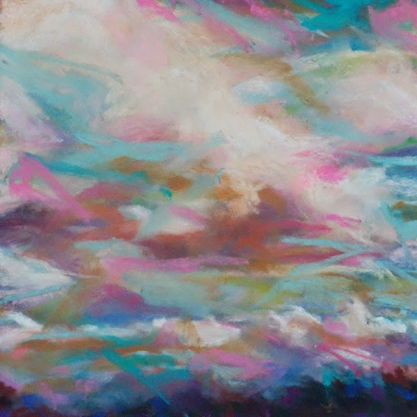 """KISS OF THE CLOUDS - 6 x 6 skyscape pastel by Susan Roden"" original fine art by Susan Roden"