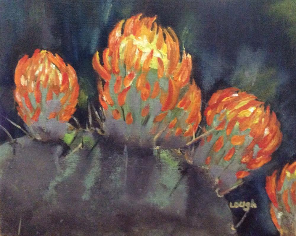 """Flaming Cactus"" original fine art by Charlotte Lough"