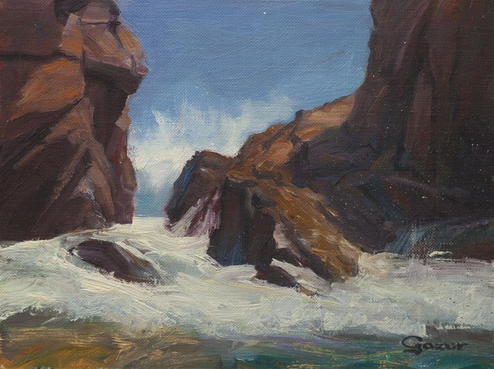 """Pfeiffer Beach High Tide 6x8"" original fine art by Pavel Gazur"
