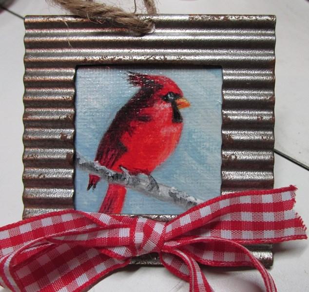 """""""Christmas Cardinal Ornament"""" original fine art by Ruth Stewart"""