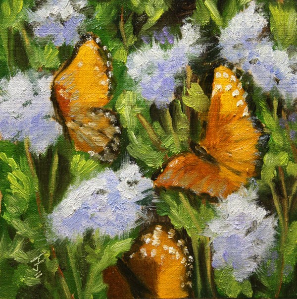 """Butterfly Party"" original fine art by Jane Frederick"
