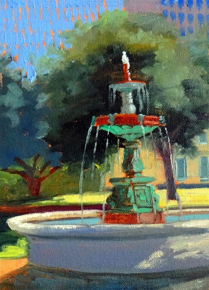 """Sam Houston Park Fountain"" original fine art by Nancy Paris Pruden"