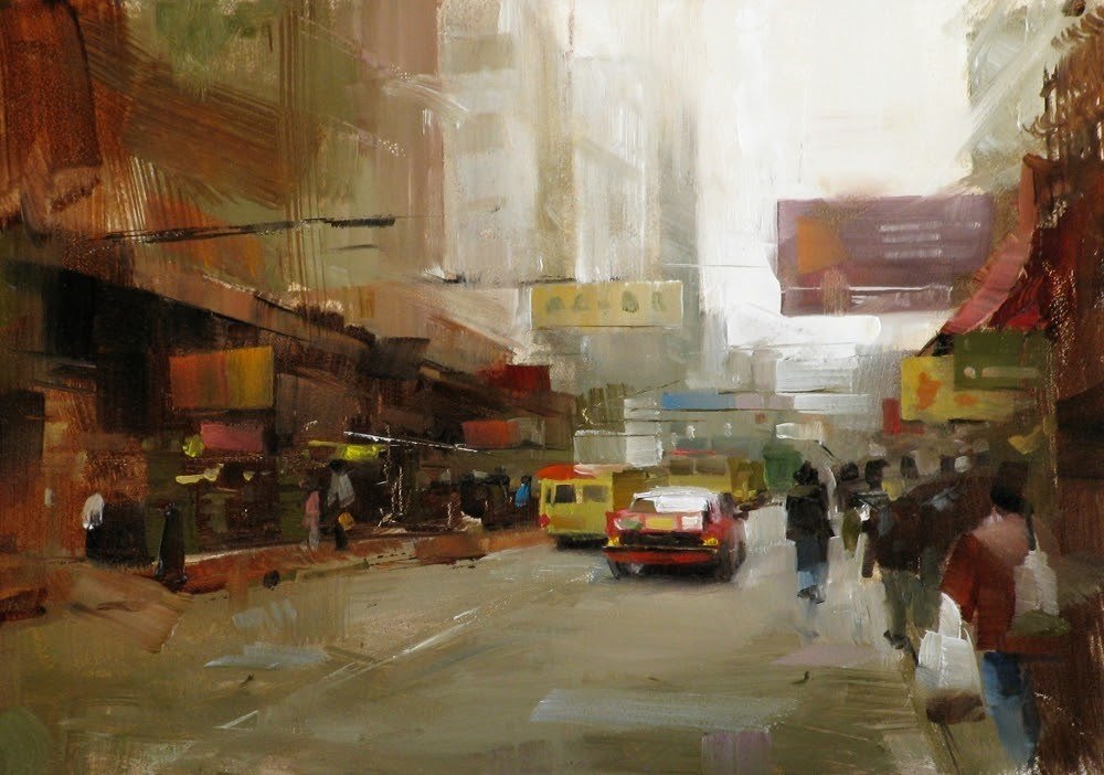 """""On a Hongkong Street"" original fine art by Qiang Huang"