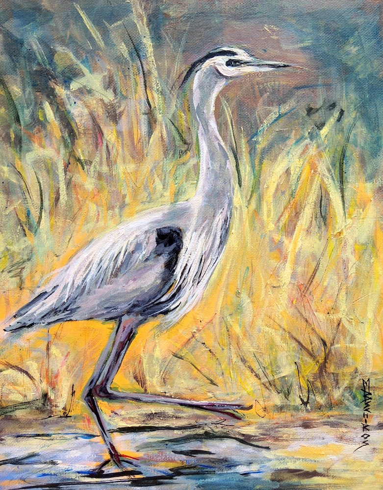 """California Crane"" original fine art by Mary Schiros"