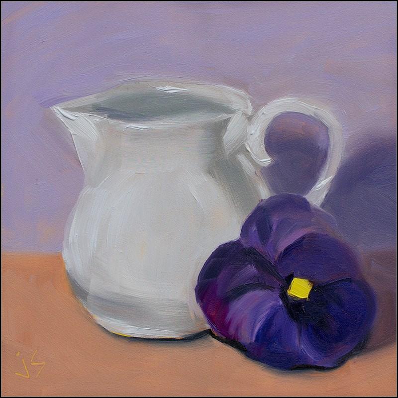 """Antique Creamer with Pansy"" original fine art by Johnna Schelling"
