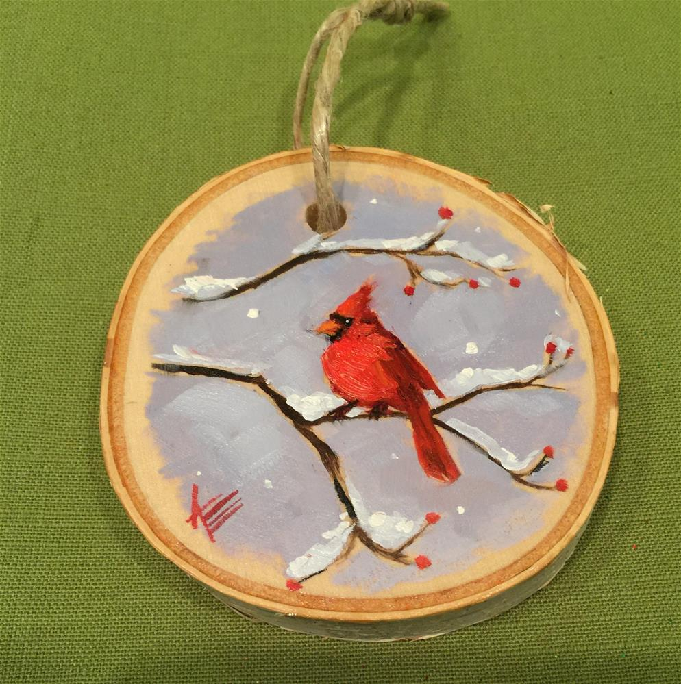 """Cardinal in the snow ~ orament"" original fine art by Krista Eaton"