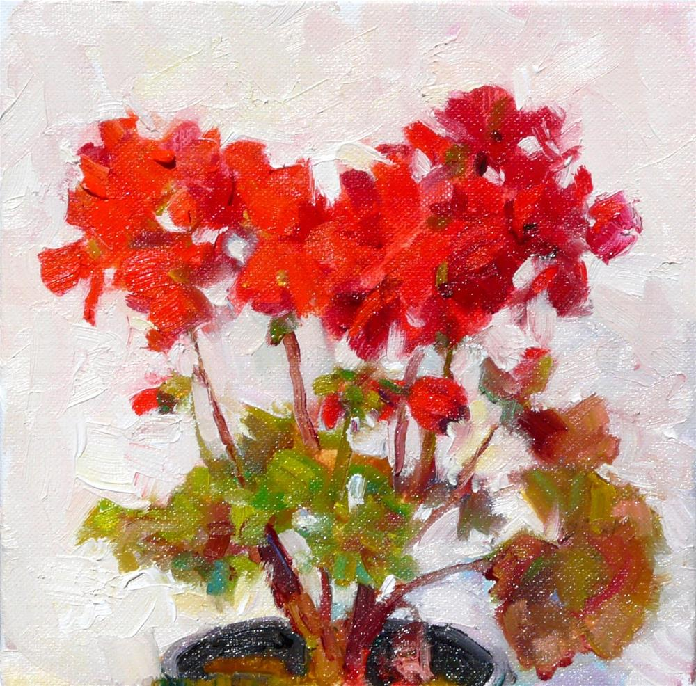 """Summer Geranium,still life,oil on canvas,8x8,price$250"" original fine art by Joy Olney"