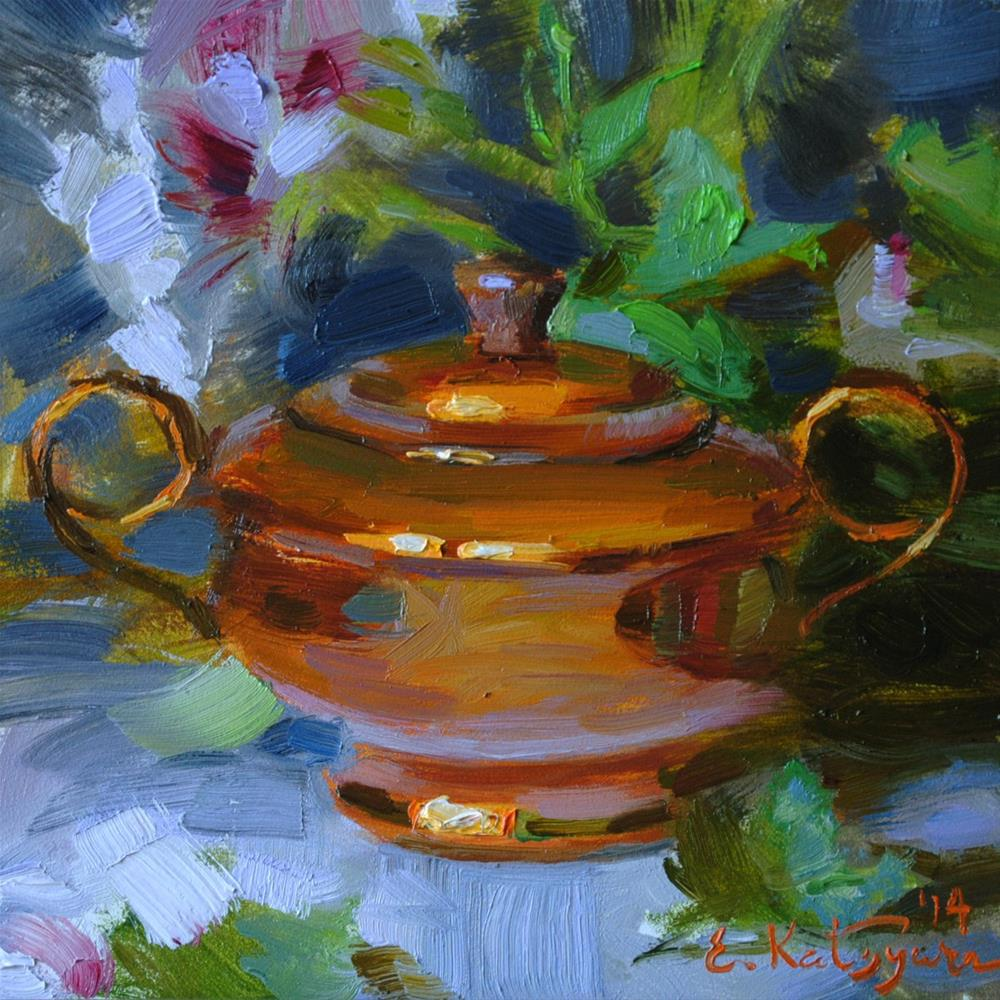 """Copper and Flowers"" original fine art by Elena Katsyura"