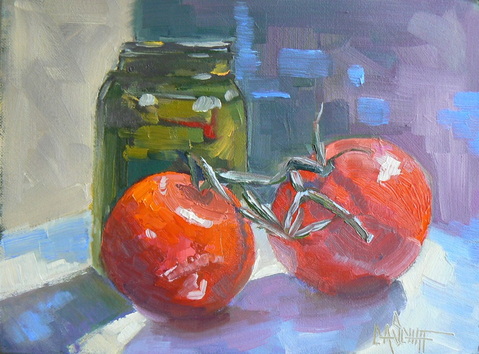 """HOMEMADE PICKLES, 6X8, OIL"" original fine art by Carol Schiff"