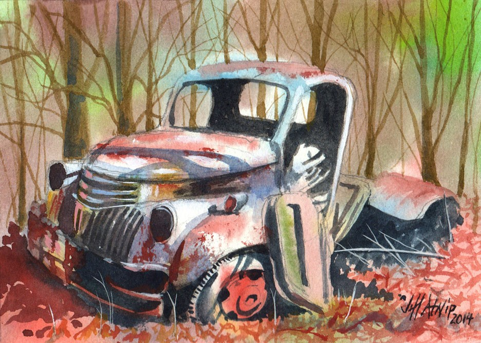 """Truck in the Woods"" original fine art by Jeff Atnip"