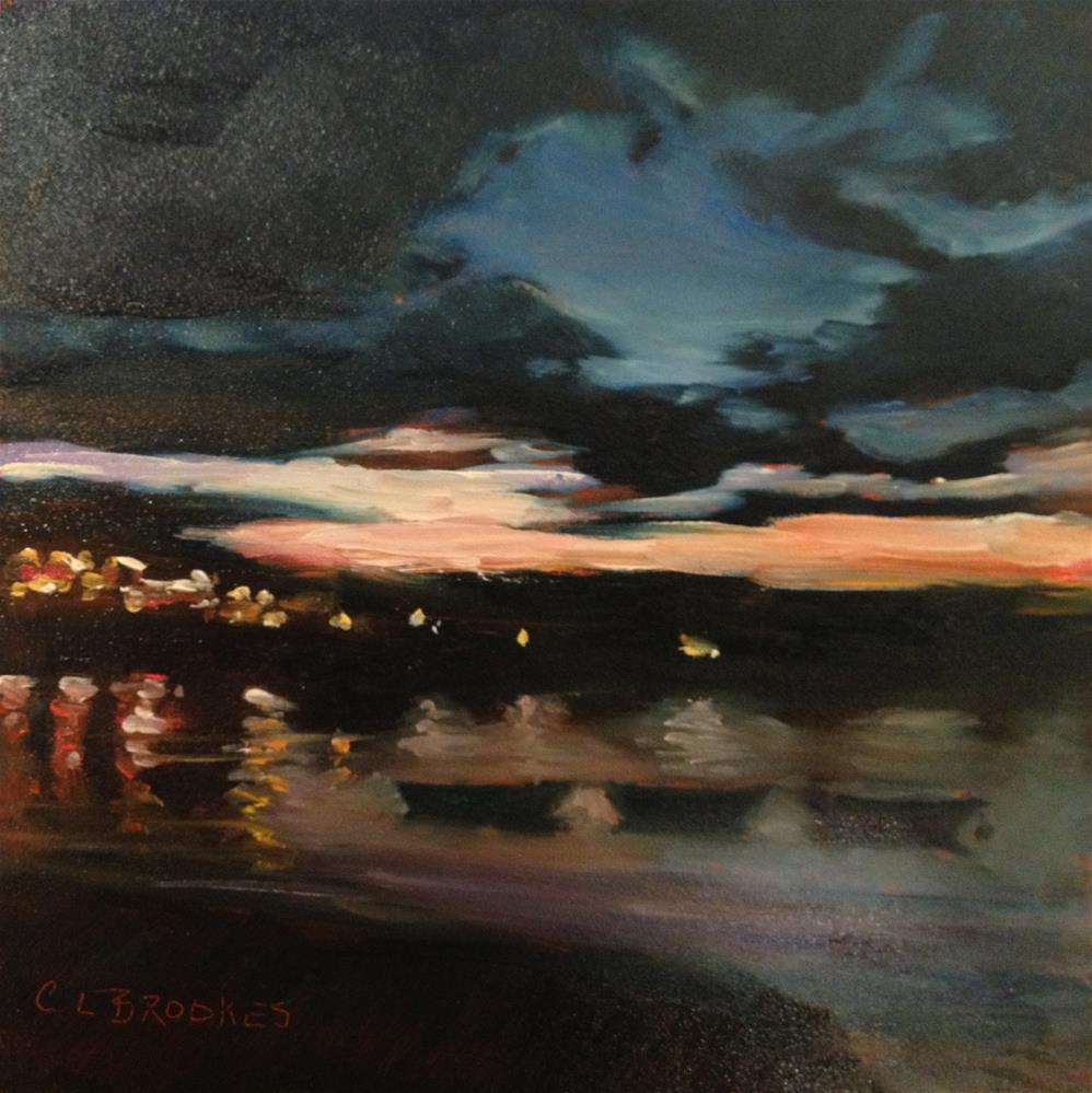 """Nightfall and The Three Dories"" original fine art by Claudia L Brookes"