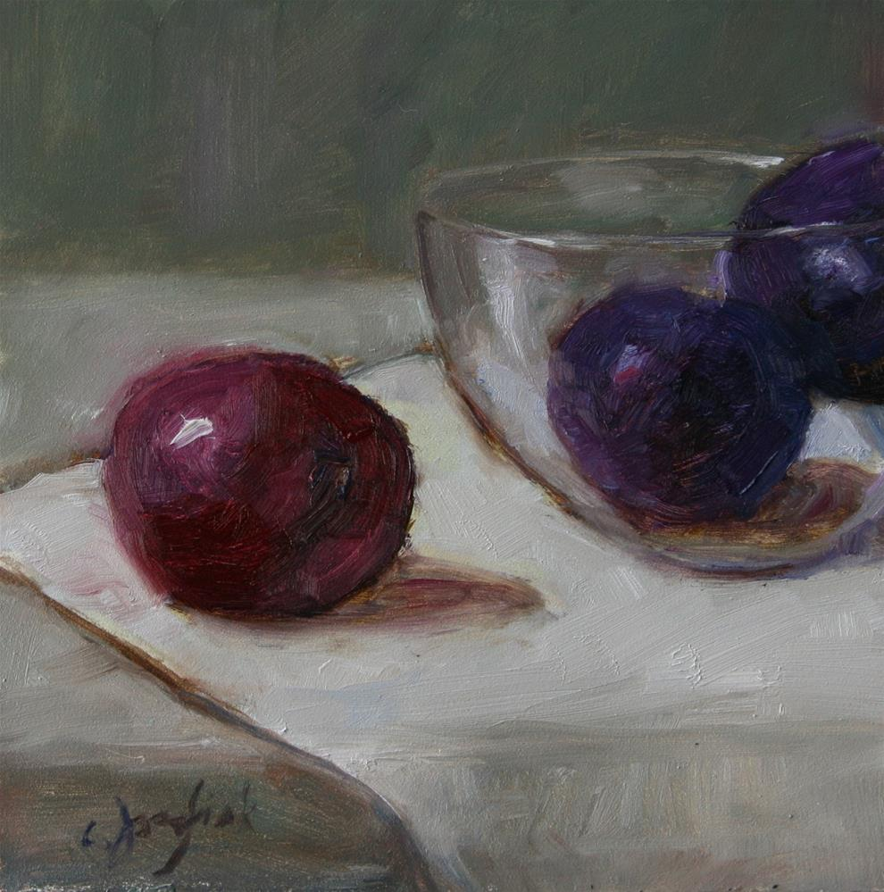 """Plums in Glass"" original fine art by Carol Josefiak"