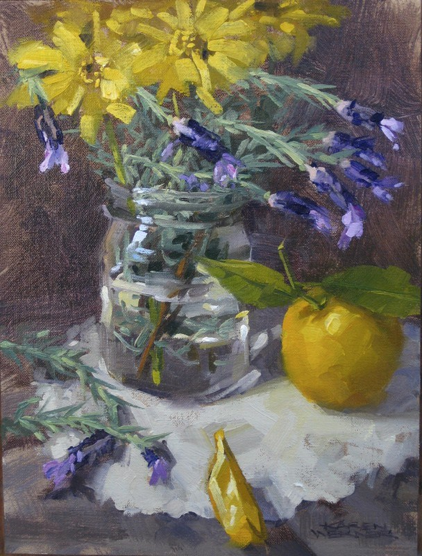 """Lavender & Lemon"" original fine art by Karen Werner"