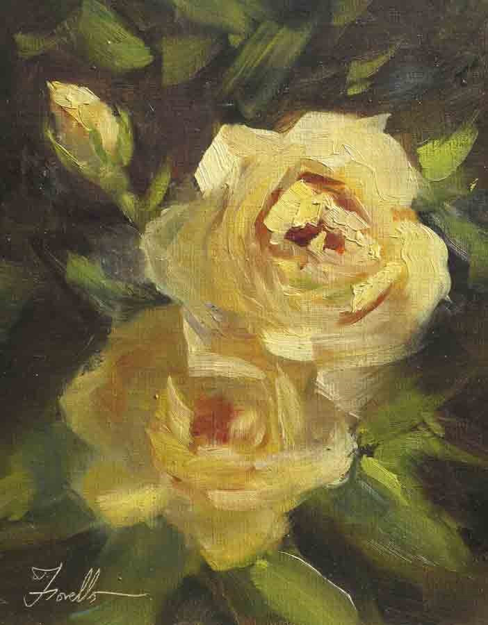 """Roses of Giverny"" original fine art by Pat Fiorello"