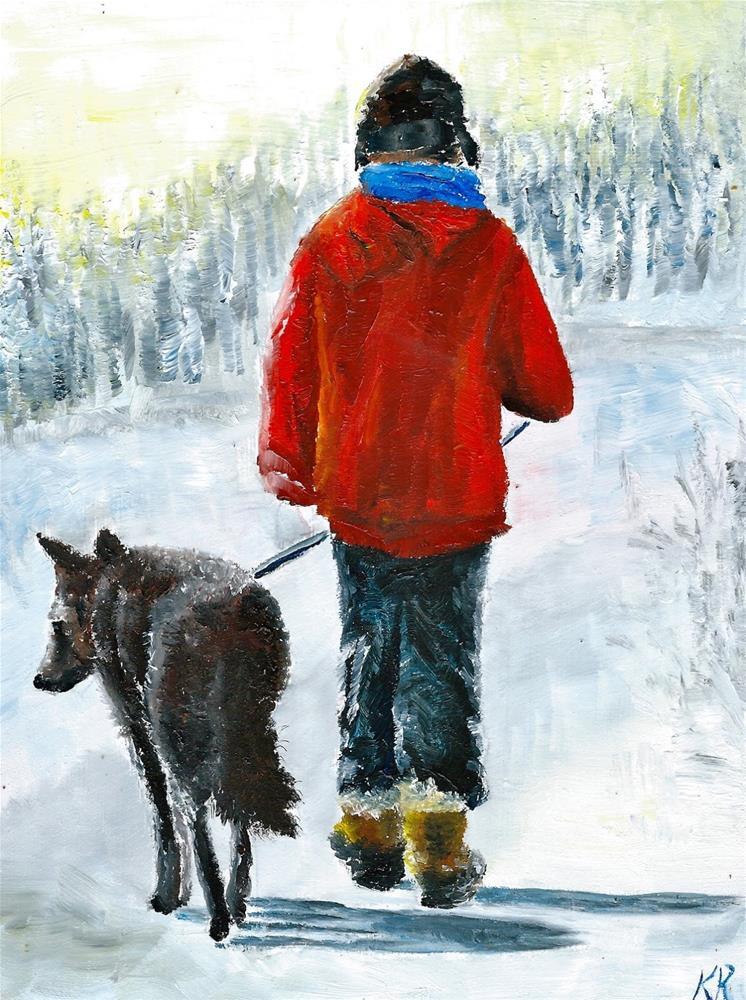 """Boy walking his dog"" original fine art by Karen Robinson"